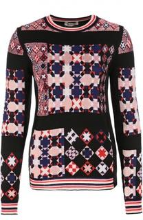 Пуловер прямого кроя с ярким принтом и круглым вырезом Emilio Pucci