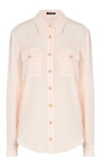 Шелковая блуза с декоративными пуговицами и накладными карманами Balmain