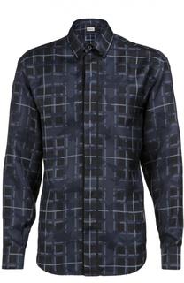 Шелковая рубашка в клетку с принтом Brioni