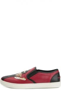 Кожаные слипоны London с нашивками Dolce & Gabbana