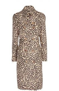 Удлиненное приталенное пальто с леопардовым принтом и поясом Givenchy