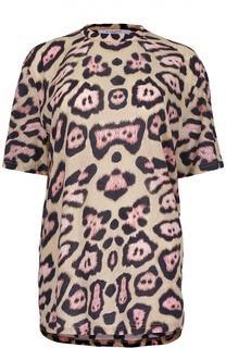 Удлиненная футболка с леопардовым принтом Givenchy