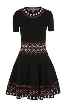 Вязаное приталенное платье с орнаментом Alexander McQueen