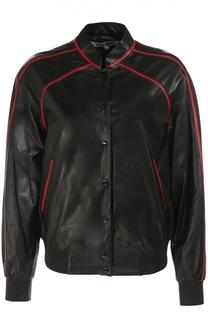 Кожаная куртка с контрастной вышивкой Kenzo