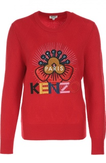 Шерстяной пуловер с аппликацией Kenzo