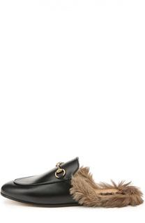 Кожаные сабо Princetown с пряжкой Gucci