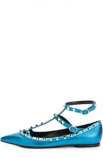Кожаные балетки Rockstud с ремешками Valentino
