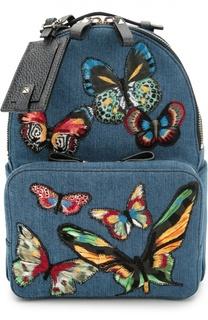 Рюкзак из денима с вышивкой в виде бабочек Valentino