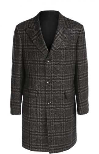 Однобортное пальто в клетку из смеси шерсти и кашемира Kiton
