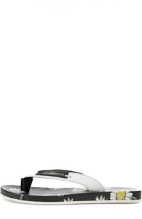 Кожаные шлепанцы с принтом на стельке Dolce & Gabbana