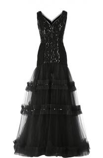 Шелковое вечернее платье с вышивкой стразами Oscar de la Renta