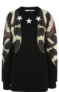 Хлопковый пуловер с принтом Givenchy
