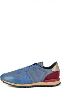 Замшевые кроссовки с шипами Valentino