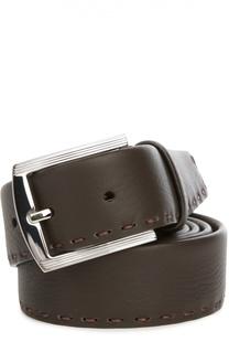 Кожаный ремень с отстрочкой Kiton