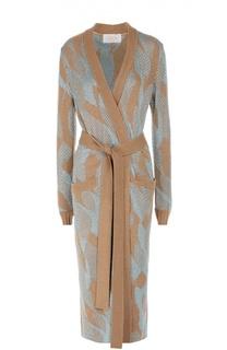 Вязаное пальто-кардиган с поясом и контрастной отделкой Tak.Ori