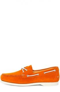 Замшевые топсайдеры с контрастным шнурком Kiton