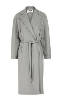 Шерстяное пальто с поясом и широкими лацканами Acne Studios