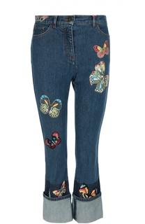 Расклешенные джинсы с завышенной талией и вышивкой в виде бабочек Valentino