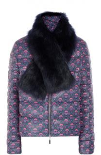Стеганая куртка с ярким принтом и меховой отделкой Escada Sport