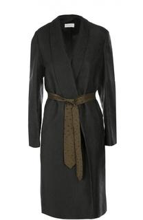 Пальто прямого кроя с контрастным поясом Dries Van Noten