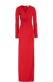 Платье в пол с драпировкой и высоким разрезом Lanvin