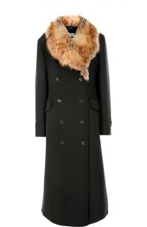Шерстяное пальто прямого кроя с меховой отделкой Dries Van Noten