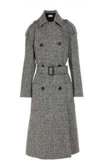 Шерстяное пальто с поясом, накладными карманами и спущенным рукавом REDVALENTINO
