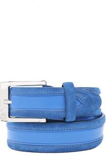 Кожаный ремень с логотипом бренда на пряжке Brioni