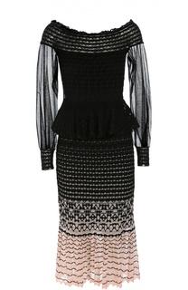 Вязаное платье с юбкой годе, открытыми плечами и прозрачными рукавами Alexander McQueen