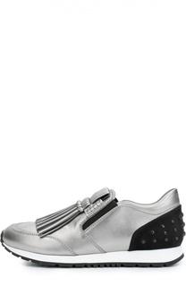 Кроссовки с бахромой из металлизированной кожи Tod's