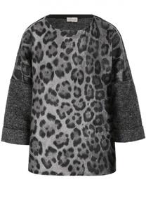 Шерстяной пуловер с укороченным рукавом и леопардовым принтом Moncler