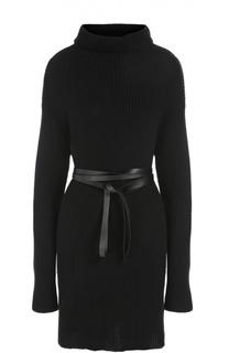 Вязаное мини-платье с поясом и высоким воротником Valentino