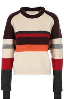 Шерстяной пуловер в контрастную полоску с круглым вырезом Isabel Marant Etoile