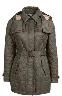 Стеганая удлиненная куртка с поясом и капюшоном Burberry Brit