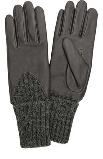 Кожаные перчатки с вязаными манжетами Agnelle