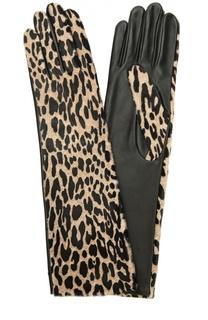 Кожаные перчатки с леопардовым принтом Agnelle