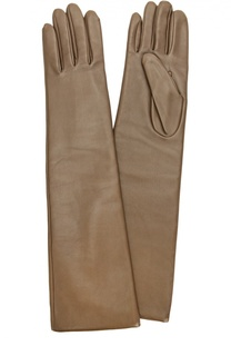 Удлиненные кожаные перчатки с отделкой из шерсти Agnelle