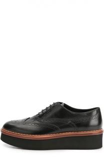 Кожаные ботинки с перфорацией на платформе Tod's