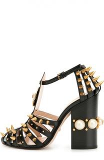 Кожаные босоножки Kendall с декором Gucci