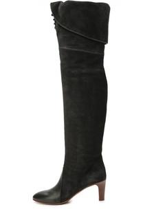 Замшевые ботфорты с кожаным мысом и шнуровкой Chloé