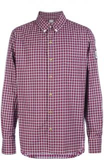 Хлопковая рубашка в клетку с воротником button down Moncler