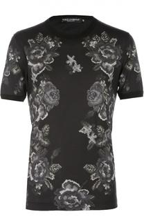 Хлопковая футболка с принтом в виде вышивки Dolce & Gabbana