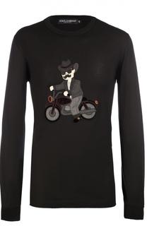 Хлопковый лонгслив с аппликацией Dolce & Gabbana