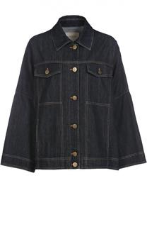 Джинсовая куртка свободного кроя с накладными карманами Lanvin