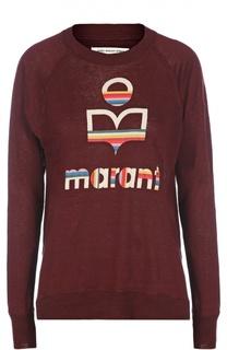 Льняная футболка с длинным рукавом и ярким принтом Isabel Marant Etoile