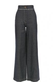 Широкие джинсы с завышенной талией и контрастной прострочкой Lanvin