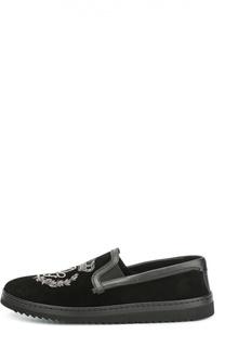 Замшевые слипоны Mondello с вышивкой Dolce & Gabbana