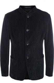 Хлопковый однобортный пиджак с воротником-стойкой Armani Collezioni