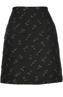 Мини-юбка с цветочной отделкой Lanvin