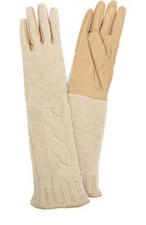 Удлиненные кожаные перчатки с отделкой из вязаного полотна Sermoneta Gloves